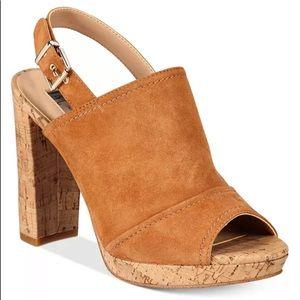 NWT INC Tangia Suede Platform Block Heel Sandals